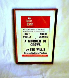Vintage theatre poster, probably 1965, for the Ted Willis play 'A Murder of Crows' at the New Theatre in Bromley, Kent.
