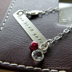 Hand Stamped Bracelet - Personalized Sterling Silver Jewelry - 1.5 Bar Bracelet with Birthstone and Pearl. $31.00, via Etsy.