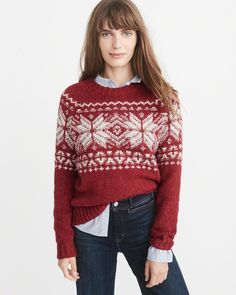 A&F Women's Fair Isle Crew Sweater