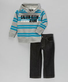 Gray & Teal Stripe Hoodie & Jeans - Infant, Toddler & Boys by Calvin Klein Jeans on #zulily today!