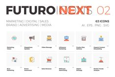Very cool Graphics Futuro Next Icons / Marketing Pack—Hey guys! We're glad to share you the second series of icons from our new Futur