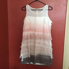 """LOFT pastel white, pink and grey dress Sweet dress has a soft white liner, sheer at very top. Ruffled layers. Falls to about 2 1/2 inches above the knee on me (5""""3 1/2). Very delicate, worn twice. Is a 6 petite. LOFT Dresses"""