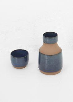 Kati Von Lehman Bed Side Carafe Set (Brown/Navy Stoneware  )