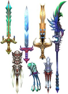 I like the selections of traditional weapons and the colours seen Fantasy Sword, Fantasy Weapons, Fantasy Art, Dark Fantasy, Sword Design, Anime Weapons, Weapon Concept Art, Game Assets, Fantasy Creatures