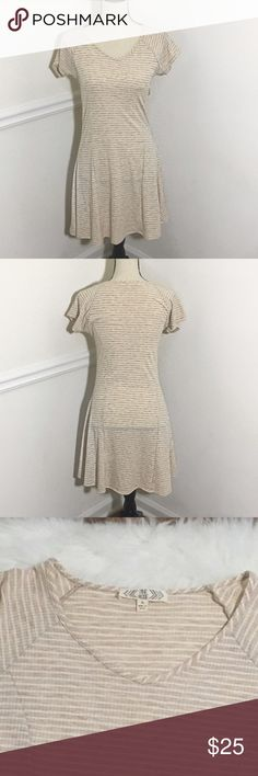 """Pink Rose dress Lightweight tan and white striped tshirt dress by Pink Rose. Material is 76% Polyester/22% Rayon/2% spandex. Size Large, Bust 32"""", Waist 28"""", Length 34"""".                                                                🚭Smoke Free Home🚭 ✅Offers Welcome on All Purchases ✅Next Day Shipping 📏Measurements Taken Flat ❌Off-Posh Transactions ❌Trade Pink Rose Dresses Mini"""