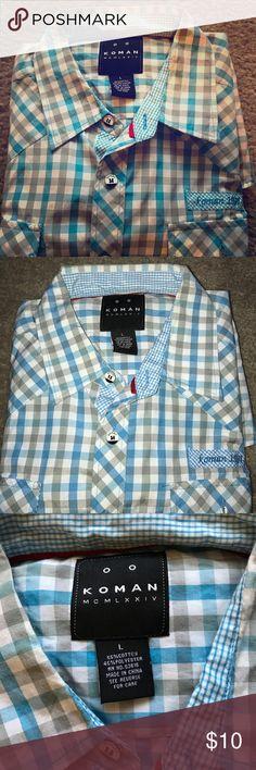 Koman men's casual button down shirt Koman men's casual button down shirt. Size L. Very good condition. koman Shirts Casual Button Down Shirts