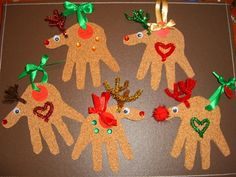 Hand-Print Reindeer Christmas Tree Ornaments. sand paper, pipe cleaners, stickers, ribbon, google eyes.