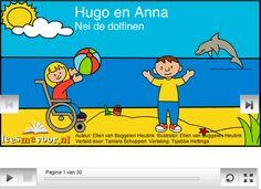 Dit friestalige voorleesverhaal gaat over Hugo en Anna, twee bijzondere kinderen. Sommige dingen kunnen ze namelijk niet zo goed. Ze gaan iets heel leuks doen. Ze gaan op vacantie zwemmen met dolfijnen! Zouden ze dat wel goed kunnen?