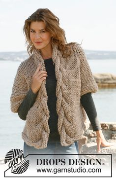 Drops 133-36, Knitted wide jacket with cables in Drops Polaris