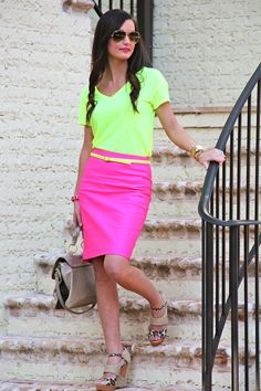Neon is so misused. And when it is, it isn't becoming to the wearer or appealing to the wearer's company. So let's all be ultra-conservative when it comes to neon.