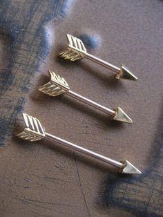 14 Gauge Gold Arrow Orbital Outer Conch Piercing Nipple Bar Barbell Earring 14g 14 G Ear Gauge Arrowhead Head want!