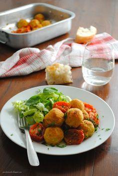 Pane, burro e alici: Polpette di ricotta gratinate in forno con i pomodorini