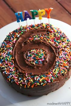 Share the HAPPY...Hi friends. Today is such a special day for us. We're celebrating Made with HAPPY Girl's 6th Birthday. We had fun making her cake last night and I thought I'd quickly share the results as I want to make this cake every year!I've said it before, but when it comes to cakes and baked …