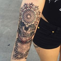 Mandala Skull by @jasoncalltattooer #inked #inkedmag #freshlyinked #Inkedshop #inkedgirls #tattoo #skull #mandala #dotwork