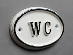 French WC Shabby Chic Toilet Door Sign - Vintage Antique Style Loo Bathroom Water Closet Old Sign White & Black Cast Iron Style Bathroom Door Sign, Toilet Door Sign, Bath Sign, Bathroom Hardware, Toilet Signs, Shabby Chic Toilet, French Antiques, Vintage Antiques, Wc Sign