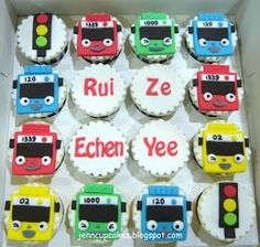Jenn Cupcakes & Muffins: Tayo the Little Bus Cupcakes Boys 1st Birthday Party Ideas, Twin Birthday, 1st Boy Birthday, Birthday Cakes, Bus Cake, Tayo The Little Bus, Cupcakes For Boys, Themed Cupcakes, Butter Cupcakes