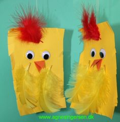 Kyllingen er et frihåndklip som et af mine dagpleje børn har lavet. Klik ind på bloggen og se kyllingen og andre frihåndskilp: http://agnesingersen.dk/blog/frikylling - easy kids crafts Easter - Kinderbastelideen Ostern