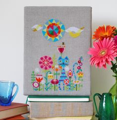 What could be more colorful and fun than this hip kitty hanging out in his fanciful spring flower garden? This cross stitch pattern is sure to Cat Cross Stitches, Cross Stitch Charts, Cross Stitching, Cross Stitch Embroidery, Modern Cross Stitch Patterns, Cross Stitch Designs, Cat Pattern, Pattern Paper, Needlework Shops