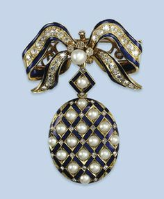 AN ANTIQUE ENAMEL, PEARL AND DIAMOND BROOCH   The oval locket with gridwork front set with halfpearls and rose-cut diamonds between blue enamelled bands, suspended from a bow brooch set with cushion-shaped diamonds and blue enamel lines, mid 19th Century