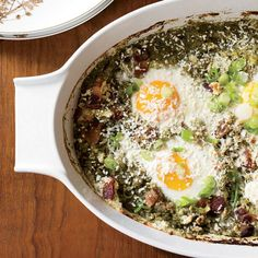 These #eggs are baked in a vibrant, fresh green sauce made with tomatillos, cilantro and scallions.