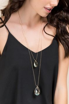 Darcey Layered Glass Pendant Necklace- Gray model