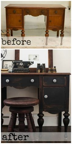 How To use Black Chalk Paint - this old desk was given a facelift with black chalk paint, hemp oil and new hardware.