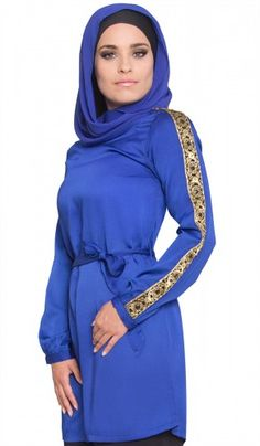 Blue Embroidered Silky Long Islamic Tunic | Islamic Clothing for Women | Islamic Clothing at Artizara.com