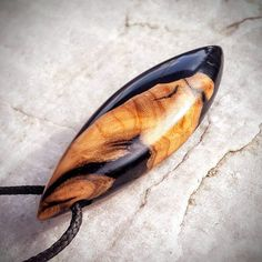 Wood Resin Pendant Olive Wood Black