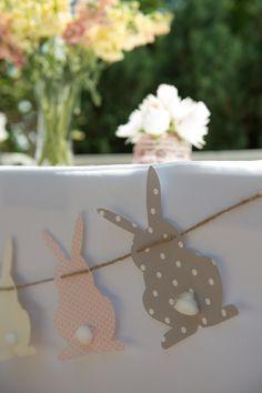 Love this bunny rabbit banner / garland! Vintage Bunny themed baby shower via Kara's Party Ideas KarasPartyIdeas.com