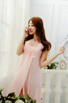 NEW Summer Female Silk Sleepwear Lace Dressing Gowns Sweet High Quality Charming Women Sleepshirt Nightgowns - free shipping worldwide