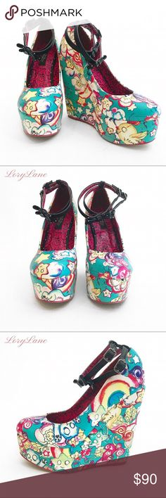SUPER CUTE FANCY CARTOON HEELS These Iron Fist Brand platform heels are definitely a fashion statement.  They're still like new and have only been worn in a fashion photo shoot.  These are a great shoe to add to your collection. Iron Fist Shoes Platforms