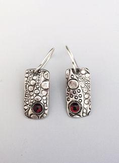 Silver Dangles - Red Garnet Jewelry - Garnet Earrings - January Birthstone - Gemstone Earrings - Casual Earrings - Oxidized Silver by bgConstructions on Etsy