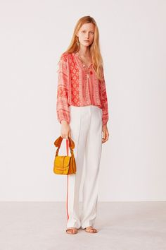 Printed Giovane Blouse in Coral by Vanessa Bruno