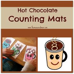 Print these free hot chocolate counting mats and grab some marshmallows for counting practice 1-10