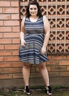 Vestido Estampa Étnica Azul Miss Masy Plus - BGO Company