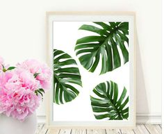 Monstera tropical de arte imprimible la hoja hojas hojas