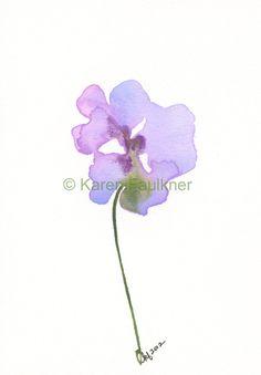 Fairy Garden Flower original watercolor flower by karenfaulknerart, via Etsy.