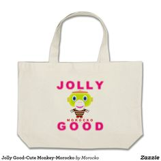Shop Jolly Good-Cute Monkey-Morocko Large Tote Bag created by Morocko. Cute Monkey, Large Tote, Happy Holidays, Totes, Give It To Me, Reusable Tote Bags, Birthday, Fun, Gifts