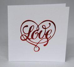 handmade anniversary or valentine card with heart design - Pretty Love Heart Card