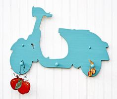 Vespa Sign Scooter Coat Rack Blue Home Decor by LifeUnscripted, $86.50