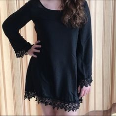 """""""The LBD"""" Chiffon Lace Hem & Cuff Minidress  My gorgeous little girl in a gorgeous little dress! ❤️ Lace at wrists and hem. NWOT only worn to model. Model is a size 8 medium 64 inches tall. Boutique Dresses Mini"""