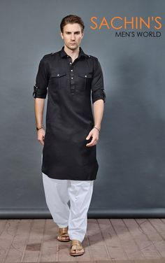 Mens Style Discover Pathani Kurta for Mens Mens Designer Shirts, Designer Suits For Men, Designer Clothes For Men, Gents Kurta Design, Boys Kurta Design, Kurta Pajama Men, Kurta Men, Black Tactical Pants, Pathani Kurta