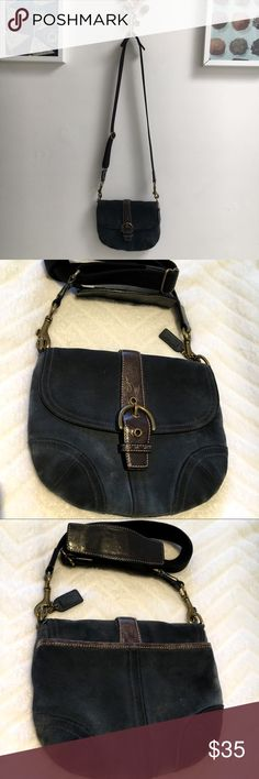 Coach Suede Crossbody Bag This is one of my favorites - Auth. Coach Suede crossbody bags. It's in very good condition (see photos for normal wear) clean with no rips or stains. Coach Bags Crossbody Bags