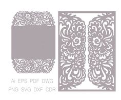 Gate-fold Wedding Invitation laser cut Card от NarisariDigitalArt