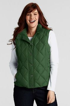 Lands End Diamond Quilted Down Vest, Fresh Clover on sale $35