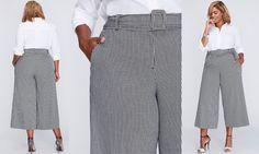 "#PlusModelMag Sponsored Plus Trend: Lane Bryant ""Ashley"" Tailored Stretch Belted Glenplaid Culottes @PlusModelMag"