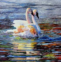 Two Swans in Love 2 by Kelly McNeil Swan Painting, Love Painting, Watercolor Bird, Watercolor Artwork, South Carolina Art, Chicken Painting, Original Paintings For Sale, Animal Paintings, Oil Paintings