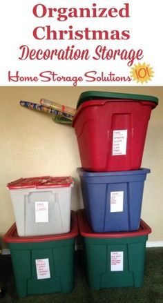 Organized Christmas decoration storage, with all items sorted into categories for ease the next year when they come back out for the season on Home Storage Solutions 101