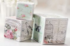 Wooden Decorative Blocks shabby vintage by birdsANDblossomsGift, $17.00