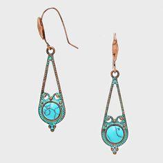 {Fish Hook Back Vintage Turquoise Drop Earrings}